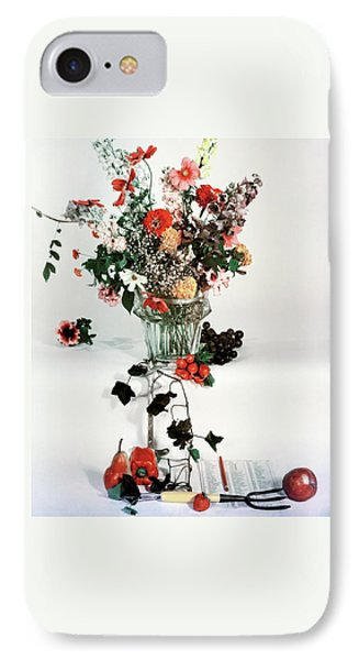 A Studio Shot Of A Vase Of Flowers And A Garden IPhone Case by Herbert Matter