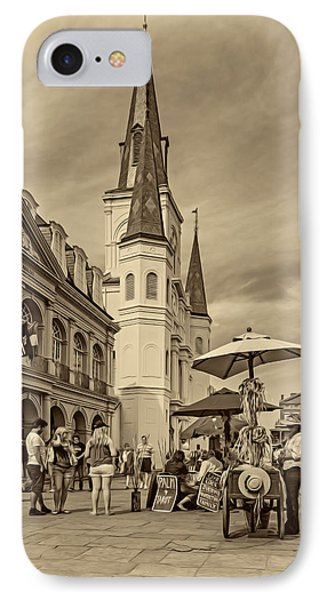 A Sunny Afternoon In Jackson Square Sepia IPhone Case