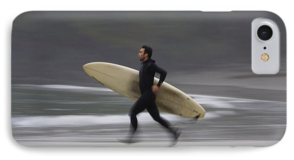 A Surfer Running To The Water With His IPhone Case by Deddeda