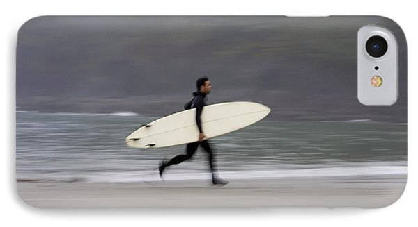 A Surfer, Running With Board Along The IPhone Case by Deddeda