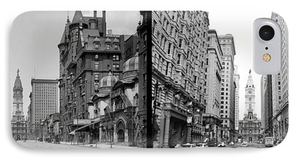 A Tail Of Two Cities - South Broad Then And Now Phone Case by Bill Cannon