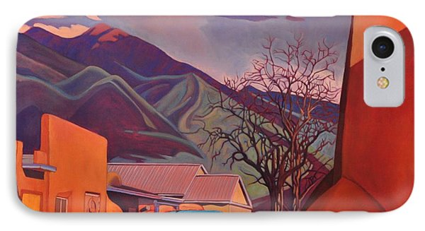 IPhone Case featuring the painting A Teal Truck In Taos by Art James West