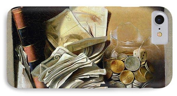 A Trompe Loeil Of Paper Money Coins IPhone Case