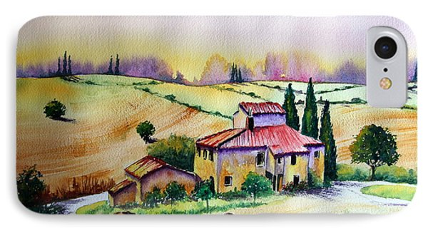 IPhone Case featuring the painting A Tuscann Farmhouse by Maria Barry