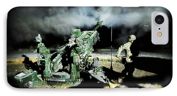 A United States Gun Crew Fire Illumination Rounds At Forward Operating Base Hadrian IPhone Case by Paul Fearn
