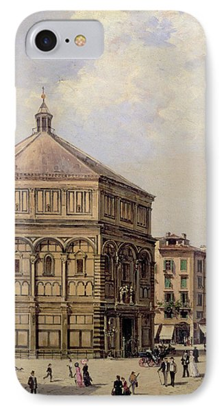 A View Of The Baptistry In Florence IPhone Case by Antonietta Brandeis