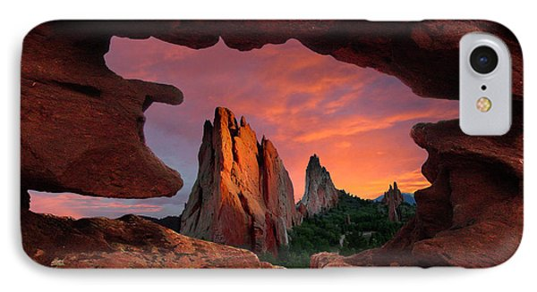 A View Through Window Rock At Siamese Twins IPhone Case
