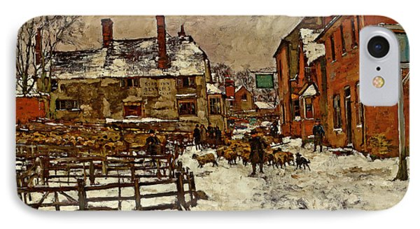 A Village In The Snow Phone Case by Henry King