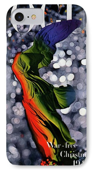 A Vogue Cover Of A Colorful Victory Statue IPhone Case by Erwin Blumenfeld