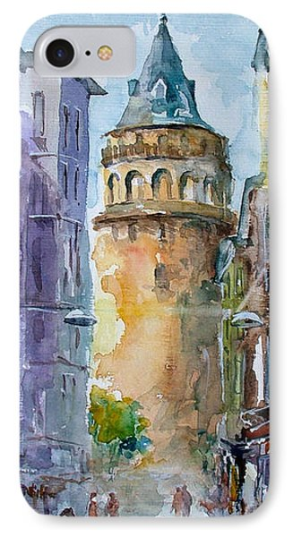 A Walk Around Galata Tower - Istanbul IPhone Case by Faruk Koksal