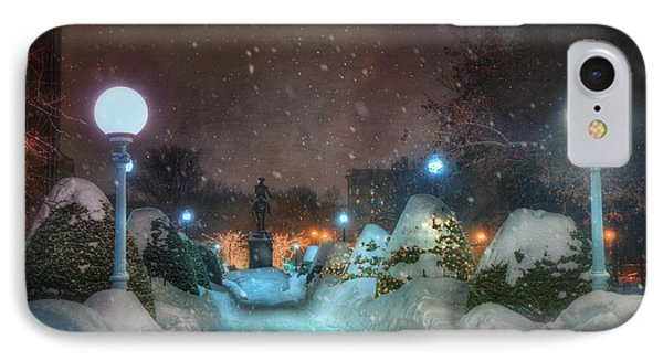 A Walk In The Snow - Boston Public Garden IPhone Case by Joann Vitali