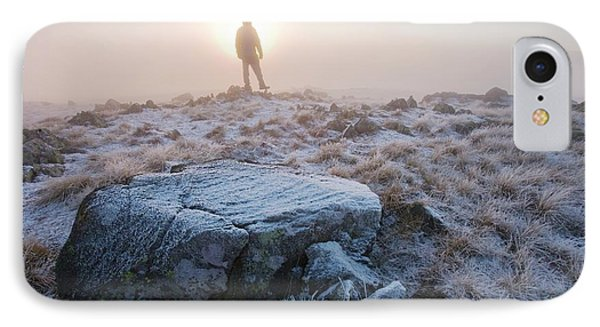 A Walker On The Summit Of Caudale Moor IPhone Case