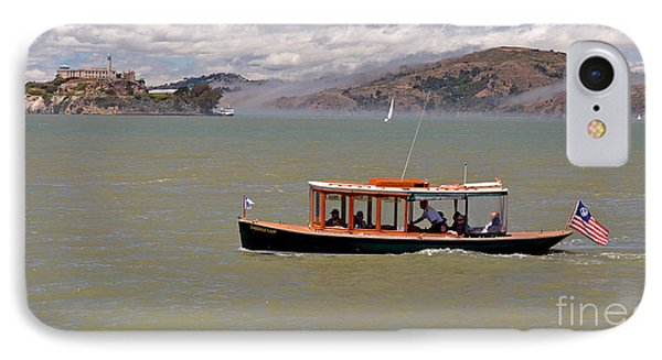 A Water Taxi Cruises Past Alcatraz Phone Case by Jim Fitzpatrick