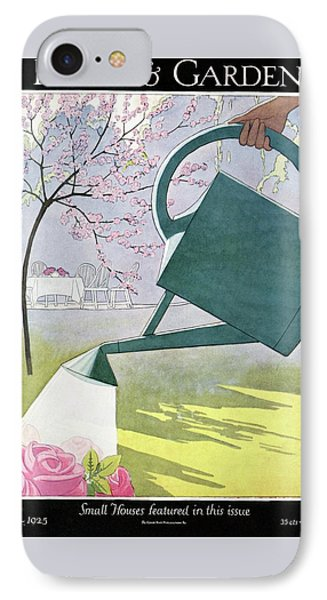 A Watering Can Above Pink Roses IPhone Case by Andre E.  Marty