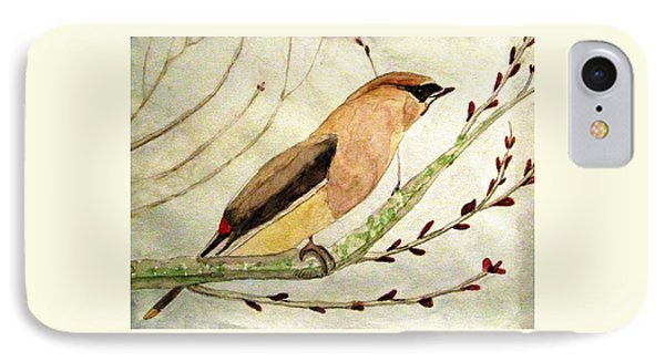 A Waxwing In The Orchard IPhone Case by Angela Davies