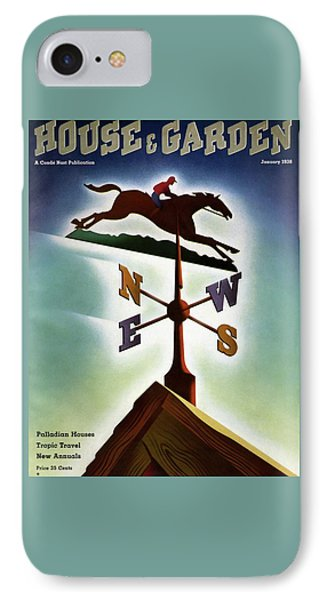A Weathervane With A Racehorse IPhone Case by Joseph Binder