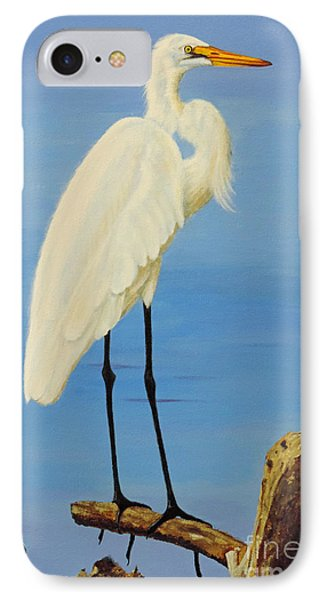 IPhone Case featuring the painting A White Egret by Jimmie Bartlett