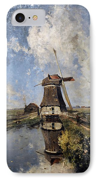 A Windmill On A Polder Waterway, Known As In The Month Of July, C. 1889, By Paul Joseph Constantin IPhone Case by Bridgeman Images