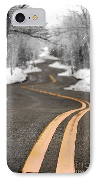 IPhone Case featuring the photograph A Winter Drive Over A Winding Road by Mark David Zahn