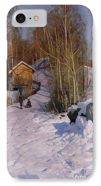 A Winter Landscape With Children Sledging IPhone Case by Peder Monsted