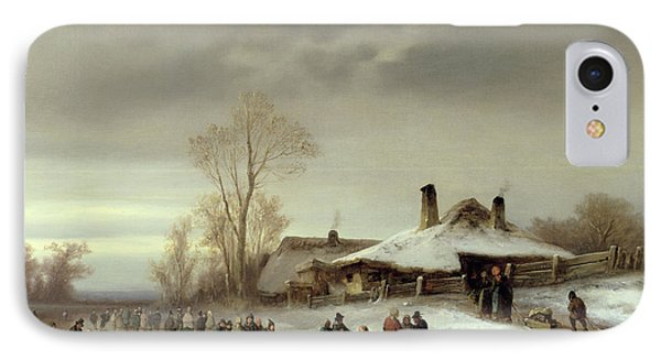 A Winter Landscape With Skaters IPhone Case
