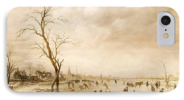 A Winter Landscape With Townsfolk Skating And Playing Kolf On A Frozen River Phone Case by Aert van der Neer