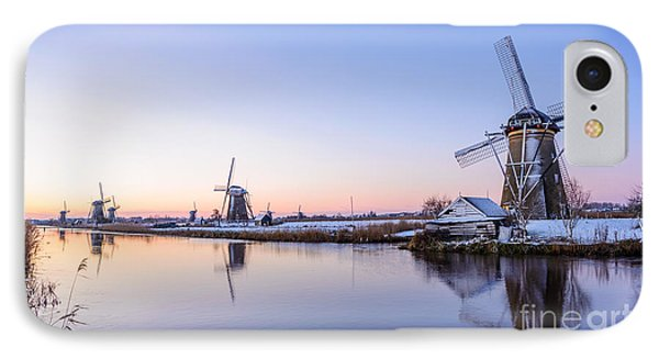 A Cold Winter Morning With Some Windmills In The Netherlands IPhone Case by IPics Photography
