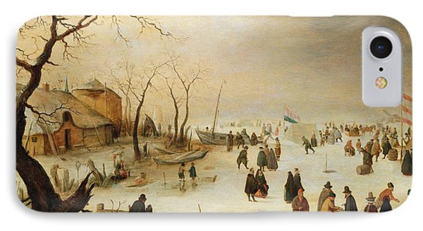 A Winter River Landscape With Figures On The Ice IPhone Case by Hendrik Avercamp