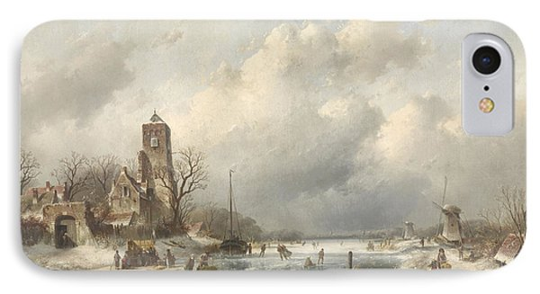 A Winter Scene, Charles Leickert IPhone Case by Litz Collection