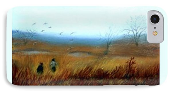 IPhone Case featuring the painting A Winter Walk by Gail Kirtz