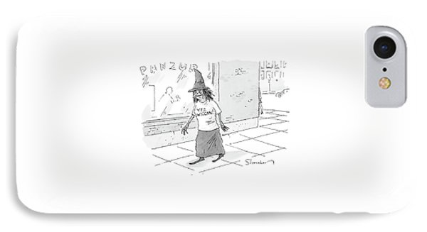 A Witch Walks On The Sidewalk Wearing A Hat IPhone Case by Danny Shanahan