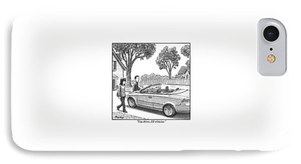 A Woman And Man Are Walking From Their House IPhone Case by Harry Bliss
