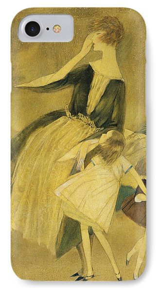 A Woman And Two Little Girls Walking IPhone Case by Henry R. Sutter