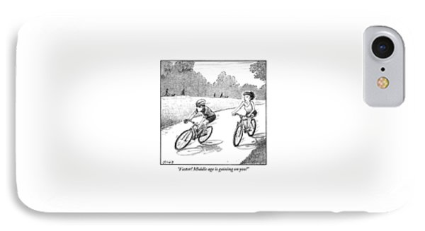 A Woman Casually Riding A Bicycle Addresses A Man IPhone Case by Harry Bliss