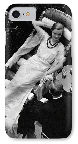 A Woman In A Chiffon Tea Gown In A Chaise Longue IPhone Case by  The 3