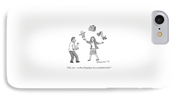 A Woman Juggles Two Children And A Briefcase IPhone Case by Danny Shanahan