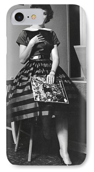 A Woman Listening To Records IPhone Case by Underwood Archives