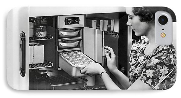 A Woman Making Ice Cubes IPhone Case by Underwood Archives