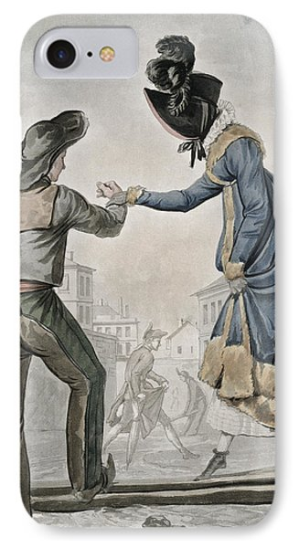 A Woman Paying A Street Sweeper IPhone Case by Antoine Charles Horace Vernet