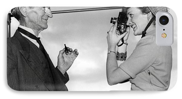 A Woman Photographs Her Father IPhone Case by Underwood Archives