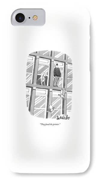 A Woman Speaks Out The Window To A Man Standing IPhone Case