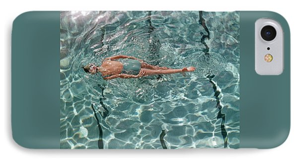 A Woman Swimming In A Pool IPhone Case by Fred Lyon