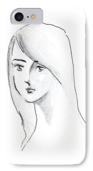 A Woman With Long Hair Phone Case by Jingfen Hwu