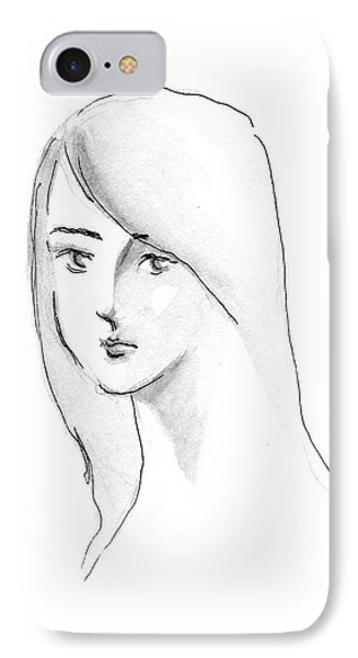 IPhone Case featuring the drawing A Woman With Long Hair by Jingfen Hwu