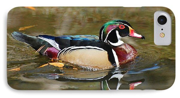 IPhone Case featuring the photograph A Wood Duck And His Reflection by Kathy Baccari