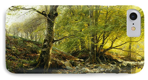 A Wooded River Landscape IPhone Case by Peder Monsted