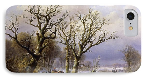 A Wooded Winter Landscape With Figures IPhone Case by Verboeckhoven and Klombeck