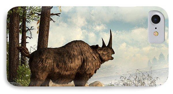 A Woolly Rhinoceros Trudges Phone Case by Daniel Eskridge