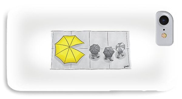 A Yellow Umbrella With A Pacman Mouth IPhone Case