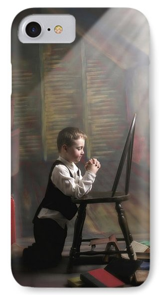 A Young Boy Praying With A Light Beam Phone Case by Pete Stec
